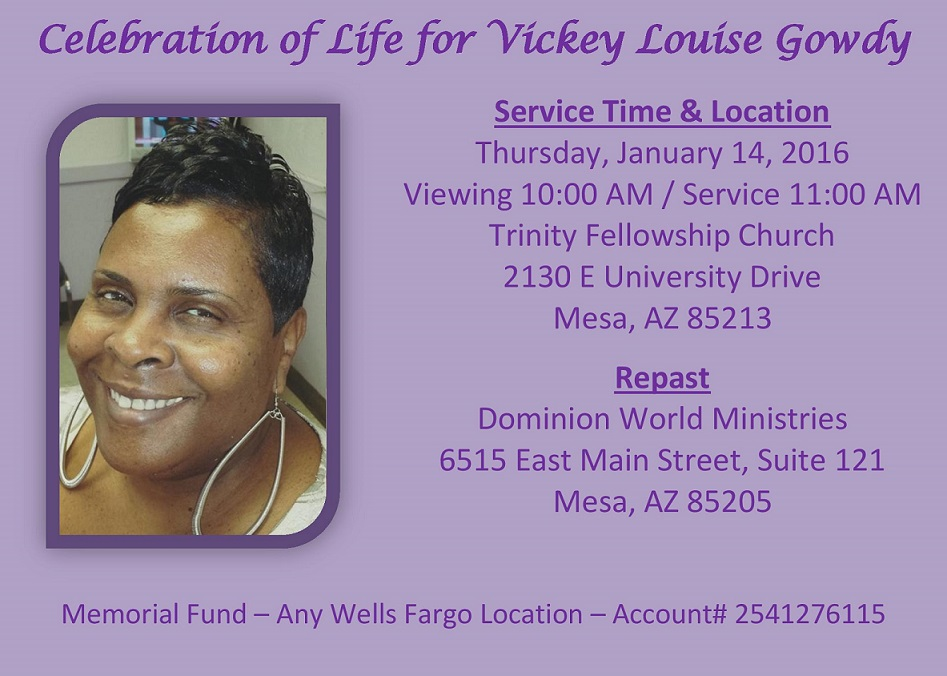 Celebration of Life - Vickey Gowdy